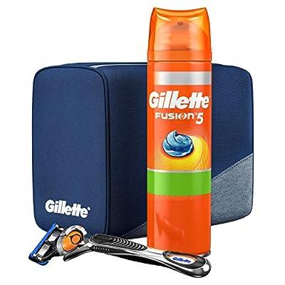 Gillette Fusion5 ProGlide Razor + Gillette Fusion5 Ultra Sensitive Shaving Gel 200ml + Travel Bag Gift Set For Men