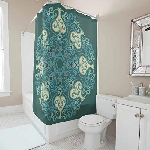 O5KFD & 8 Smaragd Mandela patroon stijl douchegordijn niet-giftig badgordijnen set met ringen - amandela kunst voor badkamerdecoratie