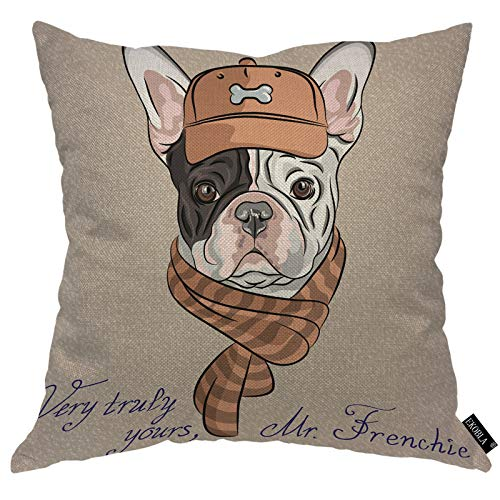 EKOBLA French Bulldog Throw Pillow Cover Very Truly Yours Mr.Frenchie Hipster Brown Cap Scarf Animal Cozy Square Cushion Case for Men Women Boys Girls Room Home Decor Cotton Linen 18x18 Inch
