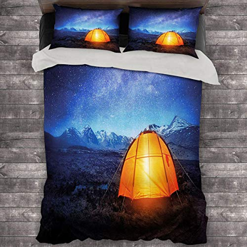Miles Ralph Camper Duvet Cover A Tent Glows Under Night Sky Full of Stars Exploring Universe Life Picture King Duvet Cover 104'x89' inch Dark Blue Orange