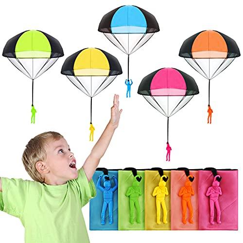 Ucradle Fallschirm Kinder Spielzeug, 10 Stück Fallschirmspringer Spielzeug Kinder Hand Werfen Fallschirm Outdoor Spielzeug für Kinder, Wurf Parachute Spiele für Draußen Kindergeburtstag Gastgeschenke