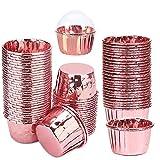 50 Pcs Moldes para Hornear de Papel de Aluminio, Estuches para Cupcakes, Moldes para Mini Cupcakes,...