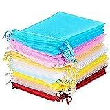 50 Bolsas de Organza Regalos de Fiesta, 10 Colores (4.3 x 3.15 Pulgadas)
