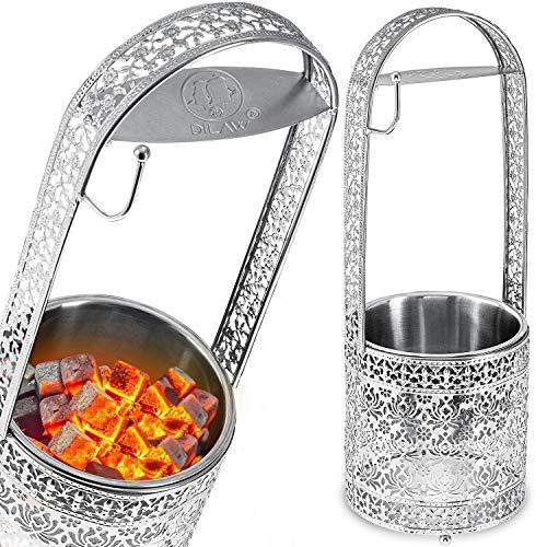 DILAW® Shisha Kohlekorb Oriental Hoch Edelstahl Kohlebehälter für Shisha Kohle & Grill Kohle Char-Basket Holzkohlekörbe mit Sicherheitsgriff Hookah Zubehör, Farbe:Silber