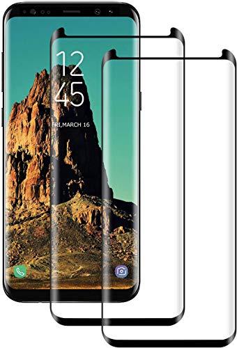 DOSNTO Cristal Templado para Samsung Galaxy S8 Plus, [2 Pack] [Negro] Cobertura Completa Protector de Pantalla para Galaxy S8 Plus, 9H Dureza, 3D Curvo, Anti-rasguños, Sin Burbujas, Funda Compatible