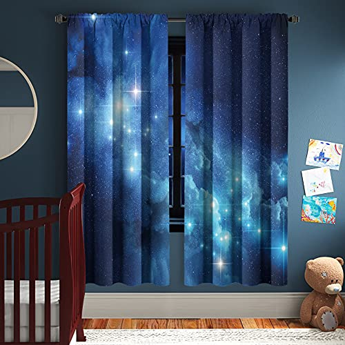 Miyotaa Blue Galaxy Curtains 2 Panels 42W x 63H Rod Pocket Outer Space Universe Cloud Planet Boys Star Sky Starry Nebula Polyester Window Drapery Treatment for Bedroom Living Room