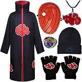AIYIMEIDE Naruto Cape Cosplay Akatsuki Disfraz para Niños Adultos Unisexo Fiesta de Carnaval de Halloween Costume Anime Naruto Tobi Obito Frente Diadema Collar Anillo de Sombrero Disfraz Accesorios
