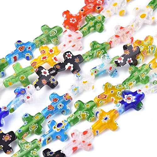 PandaHall 10 hebras de cuentas de cristal millefiori hechas a mano, 17 x 14 x 3 mm, cuentas de cristal para manualidades, collares, pulseras, pendientes, joyería, colores mezclados al azar