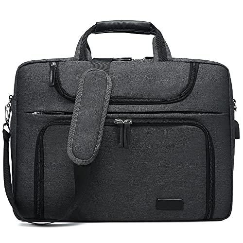 LOVEVOOK Laptop tasche 17-17.3 Zoll Notebook Tasche Wasserdicht Aktentasche Herren Schultertasche Macbook Tasche Business Taschen Herren Dunkelgrau