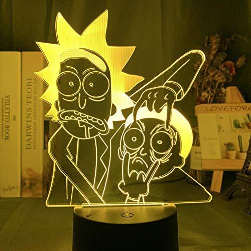 Lámpara De Ilusión 3D Luz De Noche Led Acrílico Rick Y Morty Para Niños Regalo De Cumpleaños Para Niños Lámpara De Mesa De Dormitorio Colorida Regalos De Vacaciones De Cumpleaños Para Niños