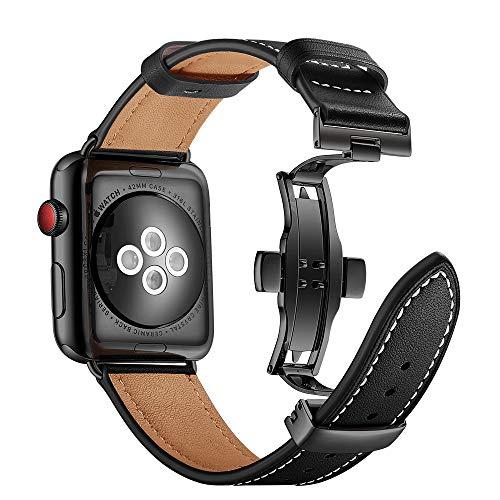 Myada Cinturino per Apple Watch 42mm Pelle, Cinturino Apple Watch Series 4 44mm, Cinturini per iWatch in Pelle, Braccialetto di Ricambio Orologio da Polso Band Donna per iWatch Series 4/3/2/1 - Nero