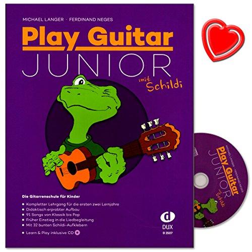 Play Guitar Junior mit Schildi - Gitarrenschule für Kinder - Kompletter Lehrgang für die ersten zwei Lemjahre in einem Band - mit CD, 32 Schildi-Aufklebern und Notenklammer - D3507-9783868492644
