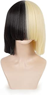 SiYi Half Blonde Black 2 Tone Short Straight Bob Wig Synthetic Full Wigs Should Length Cosplay Wigs with Bangs for Women Girls