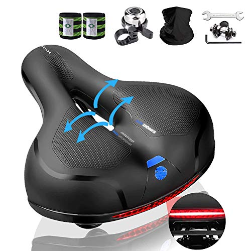 Karetto Comfort Bike Seat for Women Men-Replacement Wide Bicycle Saddle Memory Foam Waterproof Padded Soft Bike Cushion with Dual Shock Absorbing Rubber Balls Universal Fit for Bikes