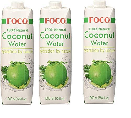 3 bottiglie di Foco Pura Acqua di Cocco - 1000 ml- idratante naturale con sali minerali