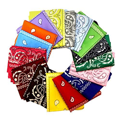 GLOBAL GOLDEN 16 Piezas Bandanas Multicolor Mujeres Hombres Algodón bandanas, Cabeza Cuello Bufanda, Hombre Cuello Pañuelo Mujer Deportivo pañuelos Pañuelos