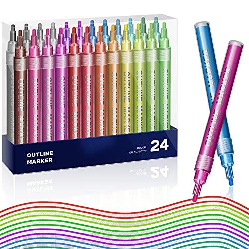 Penne a Vernice acrilica, 24 colori doppia linea, pennarelli metallici autodelineati per scrittura con glitter e disegni colorati permanenti per arte disegno, Roccia, Ceramica, Vetro