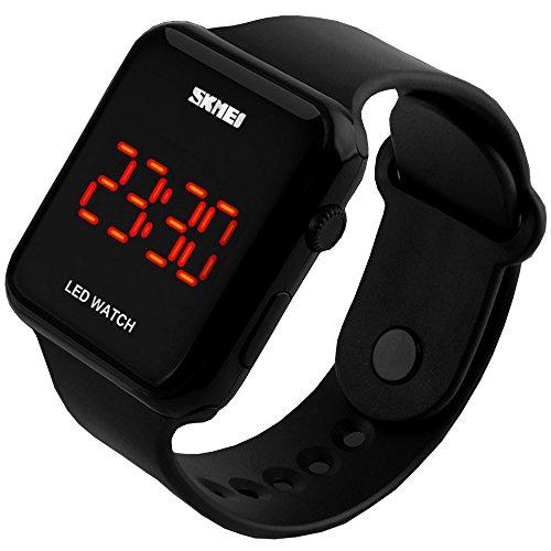 Preisvergleich Produktbild SunJas 3ATM Armbanduhr Sportuhr LCD Digital Sport Wasserdicht,  für Jugendliche,  Herren,  Damen,  Kinder (Schwarz)
