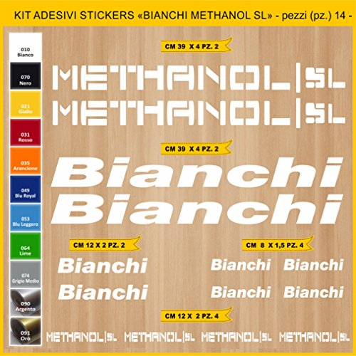 Pimastickerslab Aufkleber Fahrrad BIANCHI METHANOL SL Kit Aufkleber Stickers 14 Stück – bici Bike Cycle wählbar Cod.0818 (010 BIANCO)