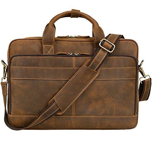 """Jack&Chris Men's Genuine Leather Briefcase Messenger Bag Attache Case 14"""" Laptop"""