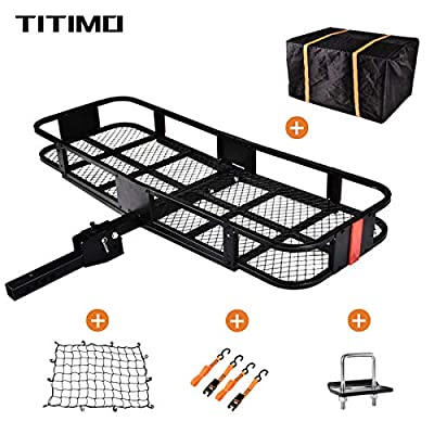 """TITIMO 60""""x21""""x6"""" Folding Hitch Mount Cargo Carrier - Luggage Basket Rack Fits 2"""" Receiver - Rear Cargo Rack for SUV, Truck, Car(Includes Cargo Net, Ratchet Straps, Waterproof Cover) - 550LB Capacity"""