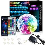 CNSUNWAY Tiras Led Bluetooth, 6m RGB Tiras de Luces con 44 Teclas de Control Remoto IR, Tiras de LED Control APP, 24V Tiras led Musica Iluminación, para Dormitorio Sala TV Bar Fiesta Decoración