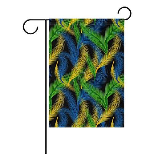 MALPLENA Brazil Styles Drapeau de Jardin Motif Plumes Résistant à la moisissure, Polyester, 1, 28x40(in)