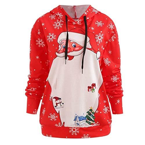 YBWZH Weihnachtspullover Damen Große Santa Druck Kapuzenpullover Locker Hässliche Weihnachtspullis Plus Size Weihnachten Hoodies Oversized mit Gedruckten Schneeflocken