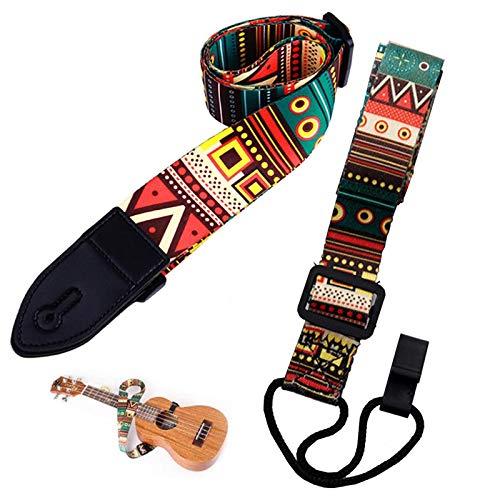Gitarrengurt Vintager Gesponnener Gurt Gitarre Mit Mikrofaser Leder Verstellbarer Gitarren-Schultergurt Guitar Strap Für Ukulele Ethnischer Stil, Zwei Arten Von Ukulele-Crossbody-Schultergurt(2 Stü)