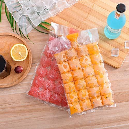 ABRC 50 moldes para cubitos de hielo autosellados, bolsas transparentes desechables para hacer hielo y embudos plegables #8233564
