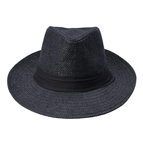 EOZY Chapeau Hat Cap Homme Fedora Panama Trilby Ete Coton Tour 58cm (#5 Noir)