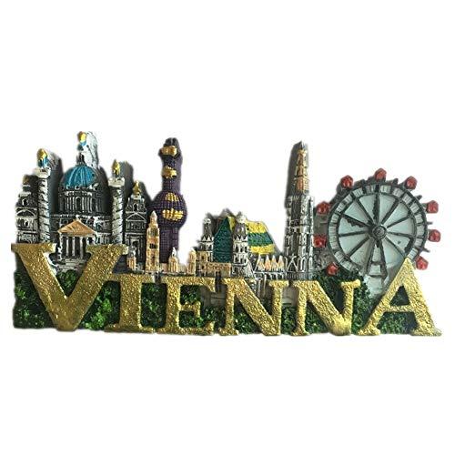 Kühlschrankmagnet Wien Österreich 3D Harz Handgemachtes Handwerk Tourist Travel City Souvenir Sammlung Brief Kühlschrank Aufkleber