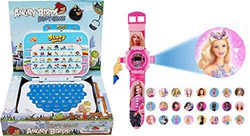 jmd impex Kids Laptop Angry Bird + Free Barbie Projector Kids Watch
