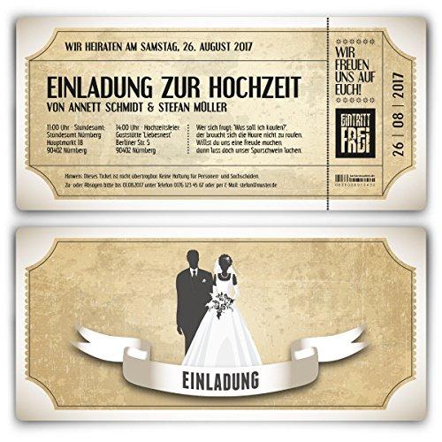 Einladungskarten zur Hochzeit (10 Stück) als Eintrittskarte im Vintage Ticket Look Hochzeitskarten in Weiß