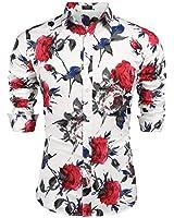 COOFANDY Men's Slim Fit Floral Printed Shirt Short Sleeve Casual Button Down Dress Shirts Beach Hawaiian Casual Aloha Shirt