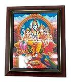 Lord Shiva and Family, PE008 Deities Photos with Wooden Brown Frame, Lord Shiva and Family