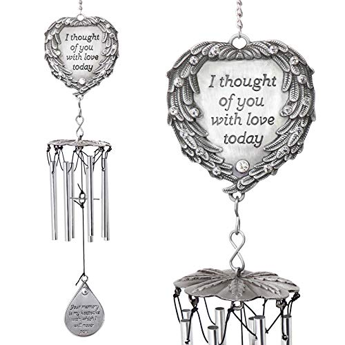 YOUR GIFTS Wind Chimes Engraved Poem I Thought Today Angel Wings Enfold a Heart and Shining Teardrop Diamonds-As Souvenirs Condolence in Loving Memory Suncatcher, 15', White