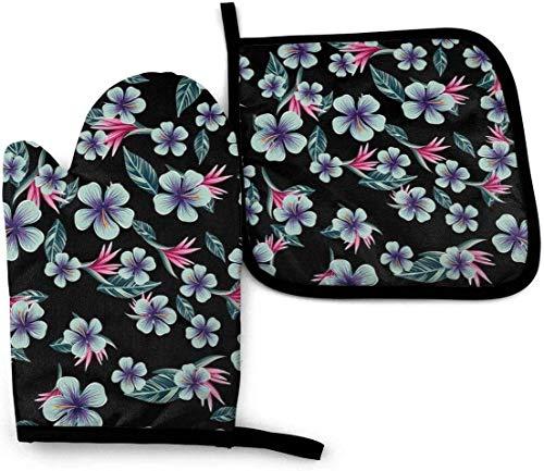 AOOEDM - Juego de manoplas y soportes para ollas con plantas tropicales coloridas, palmeras y flores, guantes de cocina resistentes al calor para cocinar, hornear, barbacoa, parrilla