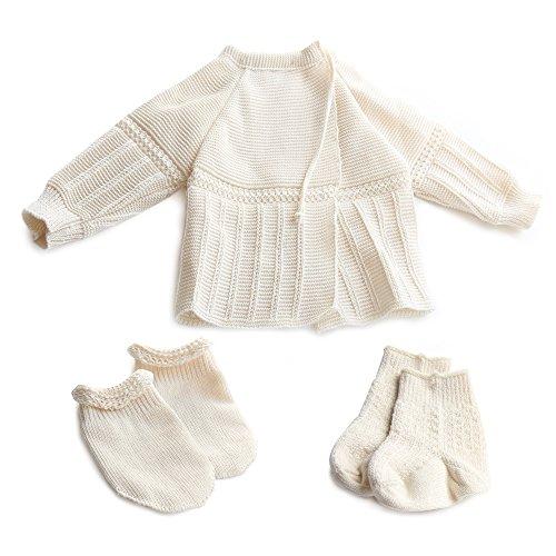 Sonnenstrick Baby-Set Erstlingsset Baby-Jäckchen + Söckchen + Handschuhe 100% Bio Baumwolle KBA