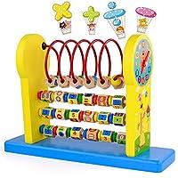 *Gioco Educativo 3 in 1 per bambini: questa cornice per il conteggio dell'abaco contiene 52 perline di conteggio in legno e 2 orologi didattici per bambini. Pertanto, non solo puoi insegnare ai tuoi figli come calcolare, ma anche farli divertire a gi...