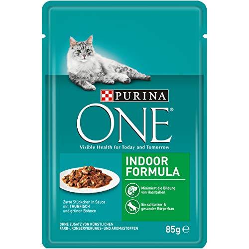 PURINA ONE INDOOR FORMULA Katzenfutter nass, zarte Stückchen in Sauce für Hauskatzen, mit Thunfisch, 24er Pack (24 x 85g)