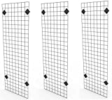 Only Garment Racks 2' x 6' Black Wire Grid Panel Wall Display - Grid Wall Complete with Wa...