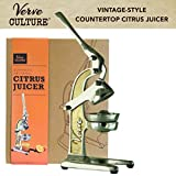 Hand Press Citrus Juicer by Verve CULTURE | Vintage-Look Countertop Orange and Lemon Squeezer | Antique-Style Manual Juice Extractor