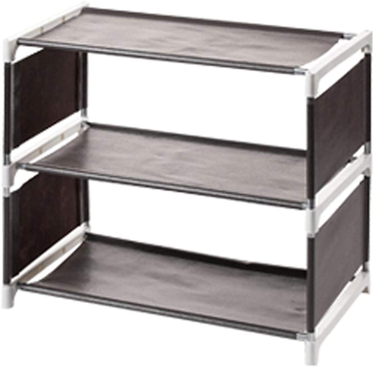 Stacking shoes Rack Organizer Over The Door, Screw-in Leveling Feet Narrow shoes Stand Storage Shelves Entryway Space Saving, Non-Woven Fabric shoes Tower (color   Coffee, Size   3 Tier)