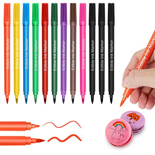 Food Coloring Marker Pens,12Pcs Edible Markers,Double Sided Food Grade Pens with Fine & Thick Tip,Gourmet Writers for DIY Decorating Fondant,Cakes,Cookies,Frosting,Marshmallows,Easter Eggs(10 Colors)