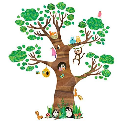 Fusmaker Creativo Grande Albero E Animali Bambini Wall Stickers Murali Adesivi Peel E Wall Sticker Rimovibile Stick per I Ragazzi E Le Ragazze da Letto Soggiorno