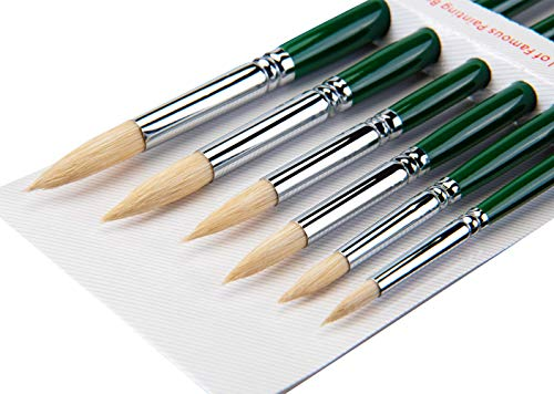 Artist Painting Brush for Oil Acrylic Bristle Hair Round Pointed Brush Wooden Handle 6Pcs/Set