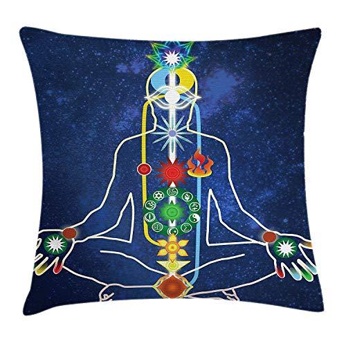 Butlerame Funda de Almohada de Yoga, Esquema de Poder, Cuerpo de una Persona, trascendencia, espiritualidad, meditación, 45 x 45 cm, Azul Oscuro, Verde, Rojo, Amarillo