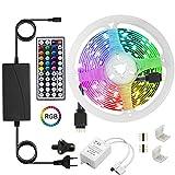 Tira de luces LED, 5 m (16,4 ft), 5050 LED RGB con mando a distancia IR de 44 teclas y fácil instalación, luces multicolor de...