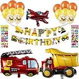 Ohighing Jungs 3.Geburtstag 2.Geburtstagsdeko Kindergeburtstag Bagger Baumaschinen Folienballon 2-6 Jahre Happy Birthday Kinderzimmer Kindergarten Partydeko